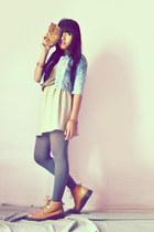 Gats Cruisse boots - sky blue jacket - beige DIY skirt