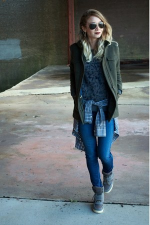 navy skinny jeans Loft jeans - army green wool structured Loft jacket