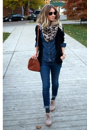 camel leopard print calvin klein scarf - navy skinny Loft jeans