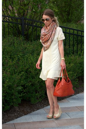 ivory sheer shift Joie dress - carrot orange Cole Haan bag