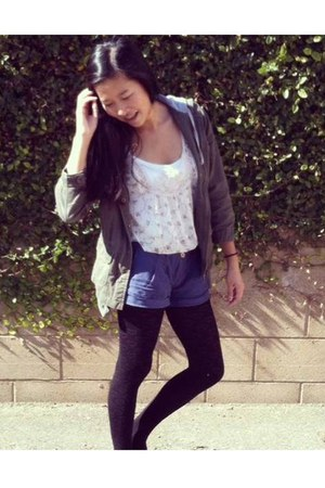 army green Sound and Matter jacket - beige floral Forever 21 shirt
