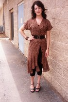 brown thrifted dress - black wedge A2 shoes
