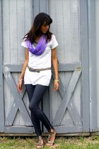 black Norma Kamali top - white Threads For Thought t-shirt - blue Miley CyrusMax
