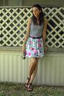 White-norma-kamali-top-white-thrifted-skirt-black-thrited-belt-black-forev