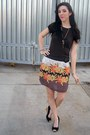 Brown-thrifted-gap-t-shirt-light-brown-thrifted-skirt-black-payless-wedges-