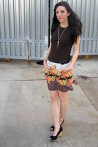 brown thrifted Gap t-shirt - light brown thrifted skirt - black Payless wedges -