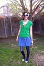 White-forever-21-dress-green-ross-shirt-blue-forever-21-skirt-blue-tights-