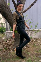 black Empyre jeans - brown leopard print thrifted top - black thrifted Forever 2