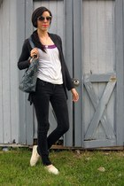 TOMS shoes - Empyre jeans - thrifted purse - top - top - Forever 21 cardigan