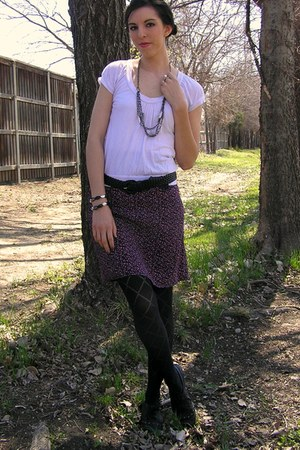 black Riot shoes - black Target tights - purple thrifted skirt - light pink top
