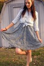 White-toms-shoes-blue-thrifted-dress-light-blue-chambray-shirt
