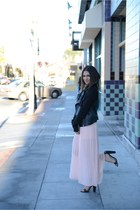 blush maxi Forever 21 skirt - Forever 21 jacket - black plaid scarf