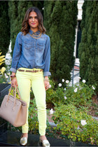 H&M top - neon skinny American Eagle jeans - gold Urban Outfitters flats