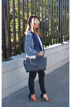 navy Urban Outfitters vest - H&M blouse - lulus heels
