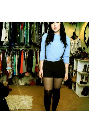 sky blue boat neck Forever 21 sweater - black scalloped Hot Topic tights