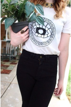 black thrifted American Apparel pants - white eye wholesale t-shirt