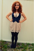 black tesco tights - light pink thrifted dress - navy denim Old Navy vest
