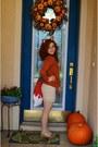 Ivory-peacocks-dress-burnt-orange-tesco-sweater