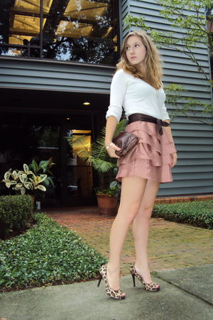 brown bow belt Nanette Lepore belt - brown leopard print Nine West shoes