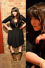 Bronze-boots-black-dress-off-white-necklace