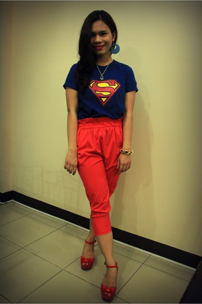 jelly vivienne westwood wedges - superman Love shirt - bangkok pants