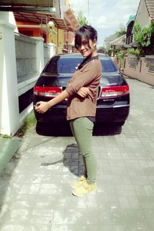 brown Gaudi blouse - light yellow Gosh boots - green Triset jeans