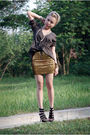 Green-esprit-top-gold-h-m-skirt-black-aldo-shoes-orange-diy-hat-gold