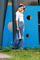 white Topshop top - blue H&M vest - blue True Religion jeans - black Aldo shoes