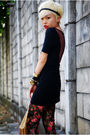 Black-topshop-dress-brown-vero-moda-vest-red-h-m-stockings-black-aldo-shoe