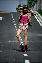 dark brown lita Jeffrey Campbell boots - nude faux leather pull&bear jacket