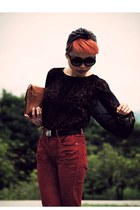 dark brown Zara top - red april 77 pants - dark brown Jeffrey Campbell boots - c