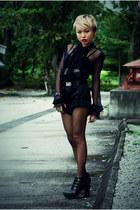 black clinic Jeffrey Campbell shoes - black RandomVendor-HK shorts - black mesh