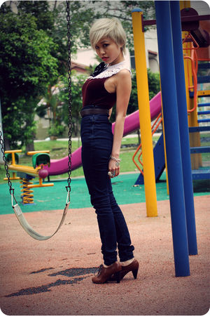 red vintage top - blue Forever 21 jeans - white DIY- Coming soon to my blogshop