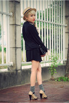 black Mums dress - brown brothers belt - gray Uniqlo socks - beige taiwan hat -