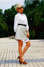 White-h-m-dress-beige-uniqlo-skirt-brown-bally-belt-brown-aldo-shoes-bla