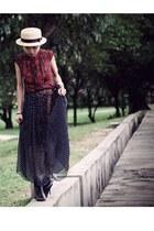 red Pull & Bear top - black Aldo boots - navy worn as skirt ShoeShoeShoe dress
