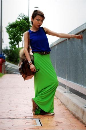 dark brown cambridge satchel co bag - blue veryoldtank DKNY top - dark brown aso