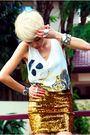 White-tic-streetmarket-top-gold-h-m-skirt-black-aldo-shoes-silver-shangha