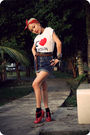 White-streetvendors-barcelona-t-shirt-blue-hajilane-sg-skirt-red-vivienne-we