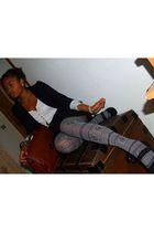 H&M earrings - Zara blazer - pull&bear leggings - ANDRE shoes - typhanie accesso