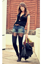 black House of Holland tights - navy River Island shorts - black button through