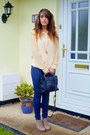 Navy-french-connection-jeans-light-orange-pleated-collar-topshop-shirt-black