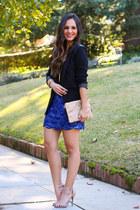 blue beaded francescas skirt - black faux leather Everbuying blazer