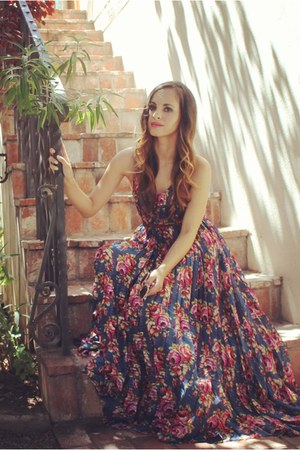 navy floral maxi Zimmerman dress