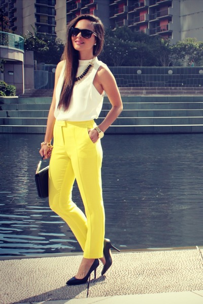 yellow Topshop pants - cream Topshop top - black Vince Camuto heels