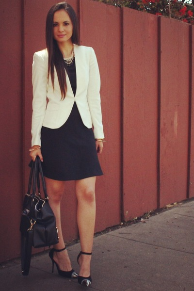 black H&M dress - white H&M blazer - black Dailylook bag