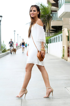 white flowy ami clubwear dress - brown Charlotte Russe bag