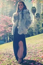 heather gray faux fur UNIF coat - black Shop Excess Baggage dress