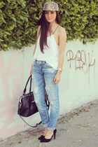 white cami Dailylook top - brown leopard Nasty Gal hat - black Dailylook bag