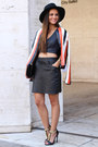 Navy-asos-blazer-black-leather-kahlo-skirt-navy-crop-top-zara-top